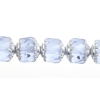 Fire polished Cathedral 9mm Transparent frosted Light sapphire/silver ends